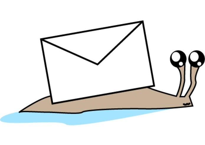 Mailsnail logo; a cute snail with an envelope on its back