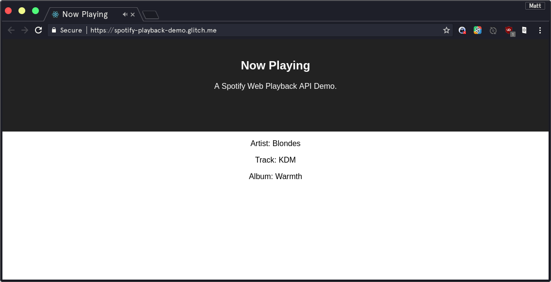 A screenshot of our app, showing the currently playing song
